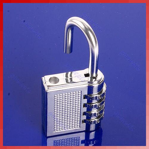 High Quality 4 Digit Resettable Combination Lock Password Plus Padlock Silver