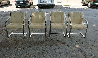 4 70'S HEAVY THICK CHROMED STEEL BRUETON DESIGNER ARM CHAIRS LIKE KNOLL BRNO