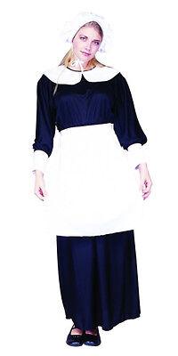 ADULT PILGRIM LADY COSTUME COLONIAL PRAIRIE PURITAN PIONEER AMISH WOMENS BLACK