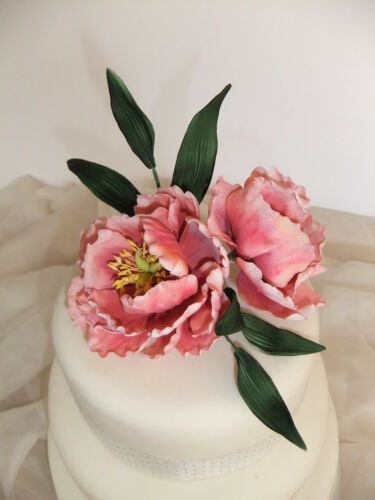 Sugar Peonies & Foliage Flower Spray Cake Decoratioon Topper Birthday or Wedding