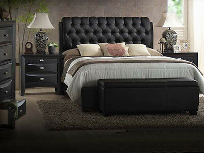 NEW 5PC FRANCO II BLACK FINISH WOOD TUFTED BYCAST LEATHER QUEEN KING BEDROOM SET