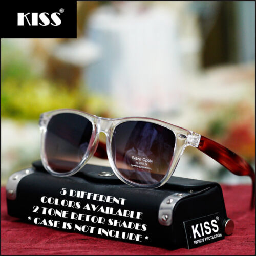 NEW FASHION RETRO UNISEX COOL SUNGLASSES CLASSIC VINTAGE 2 TONE CLEAR PARTY WAVE
