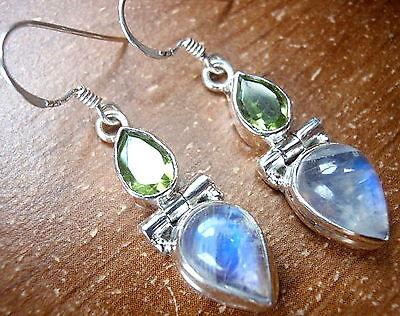 Moonstone Faceted Peridot 925 Sterling Silver Dangle Drop Earrings Teardrop New