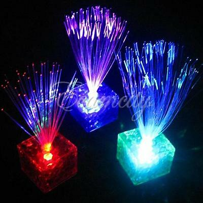 New 7-Color Changing Optical Fiber Flashing LED Cube Night Light Lamp Party Gift