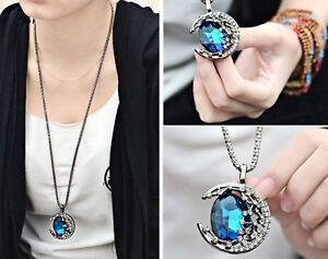 Women-Fashion-Moon-Blue-coffee-Crystal-Sweater-Chain-ajustable-pandent-Necklace