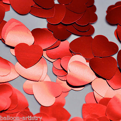 2x Large Valentine's Day Red Foil Hearts Confetti Sprinkles