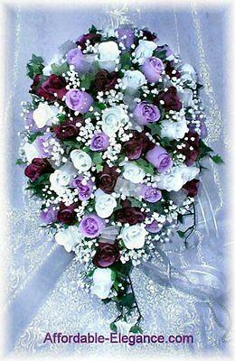 PURPLE LAPIS LAVENDER LILAC Roses ~ CASCADE Bridal BOUQUET Silk Wedding Flowers