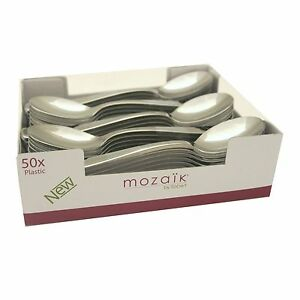 50-Metallic-Silver-Plastic-SPOONS-Luxury-Strong-Disposable-Cutlery-Mozaik-Sabert