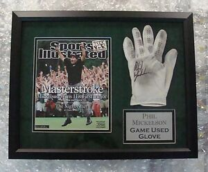 Phil-Mickelson-Signed-Game-Used-Golf-Glove-16x20-Framed-Autograph-UDA-Upper-Deck