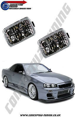 New Set of Clear Front Indicators x2 - For R34 GT Skyline RB25DE Neo Non Turbo