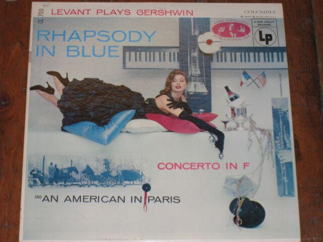 RHAPSODY IN BLUE CONCERTO AMERICAN IN PARIS LEVANT PLAYS GERSHWIN COLUMBIA CL700