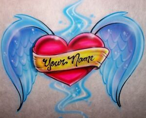 Airbrushed-Heart-Angel-Wings-Custom-Tattoo-Style-T-Shirt-Airbrush-any-Name