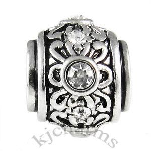 Wholesale-Lot-10pcs-Silver-CZ-Flower-European-Bracelet-Spacer-Charm-Bead-W-633
