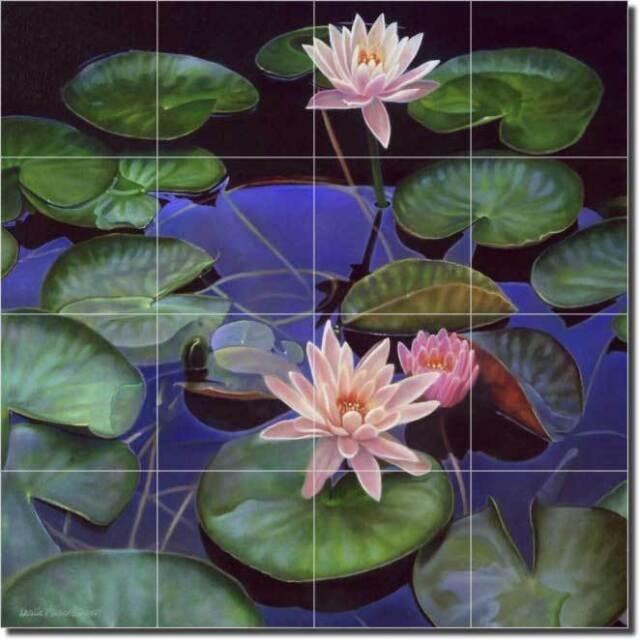 Macon Lily Pond Flowers Floral Art Ceramic Tile Mural