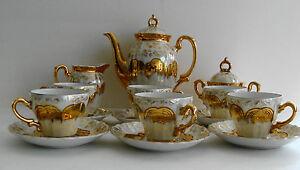 Vintage-STERLING-CHINA-Japan-17-Piece-Tea-Set-Gold-Overlay-Opalescent-Flowered