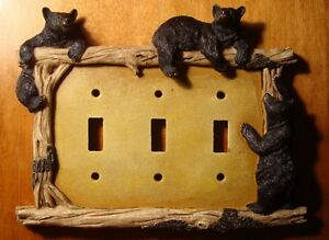 BLACK BEAR TRIPLE TOGGLE LIGHT SWITCH PLATE SWITCHPLATE CABIN WALL COVER DECOR