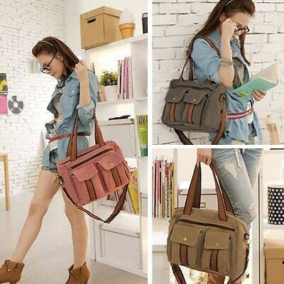 Womens Canvas Retro Zipper Snap Travel Weekend Satchel Bag Shoulderbag Handbag