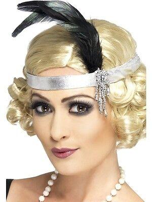 Silver & Black 20s Charleston Feather Headband Flapper Moll Ladies Fancy Dress