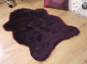 Plum-aubergine-purple-faux-fur-sheepskin-rug-100x70cm