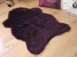 Plum-aubergine-purple-faux-fur-sheepskin-rug-100x70cm