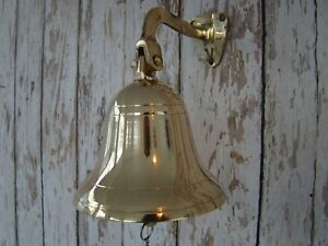 Brass-Ship-Bell-w-Lanyard-4-Nautical-Ships-Decor