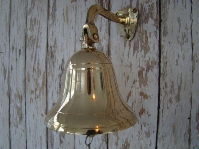 "4"" Polished Brass Ship Bell w/ Bracket ~ Nautical Maritime Wall Decor"