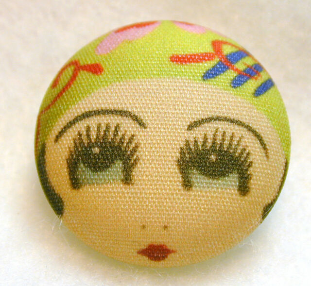 """1920s Flapper Girl  Button Hand Printed Fabric """"Ivy"""""""