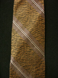 VINTAGE-1950-039-S-1960-039-S-SILK-LIGHT-BROWN-TIE-WITH-BROWN-STRIPES