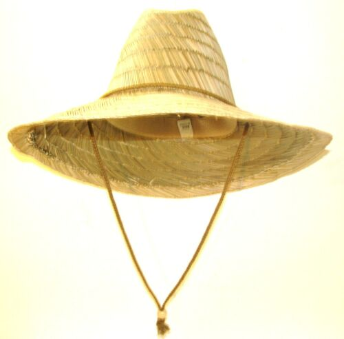 LARGE BRIM STRAW LIFEGUARD SAFARI  FISHING SUN HAT WITH ELASTIC STRETCH FIT