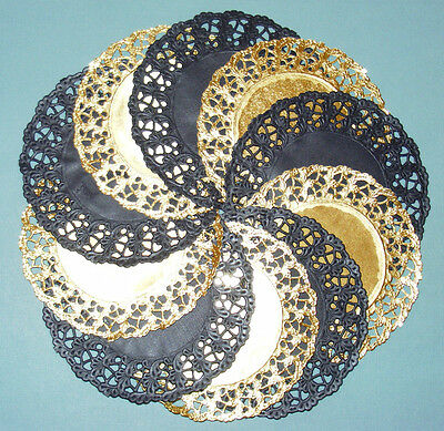 EXCLUSIVE BLACK AND GOLD PAPER LACE DOILY MEDALLIONS  12.5cm