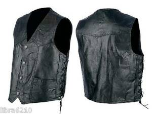 Genuine-Hog-Pig-Leather-Motorcycle-Biker-Vest-Lace-up-Sides-M-L-XL-2X-3X-NEW