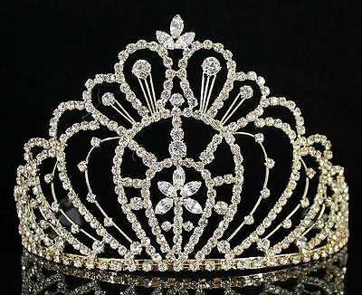 QUEEN RHINESTONE CRYSTAL CROWN TIARA W/ COMBS PAGEANT PROM BRIDAL H469 GOLD