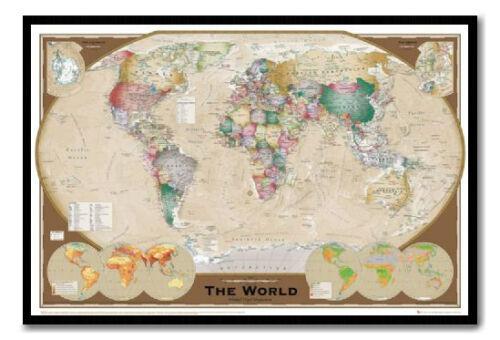 World Map Poster Triple Projection  Magnetic Notice Board Black Framed