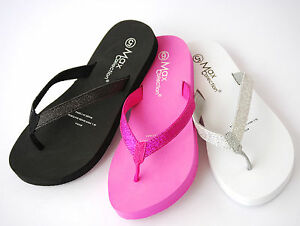 New-Summer-Glitter-Wedge-Thong-Summer-Flat-Low-Flip-Flop-Women-Shoes-Viva