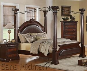 Empire 3 Piece Bedroom Set King SIZE Canopy Poster Bed 1 Nightstand Che