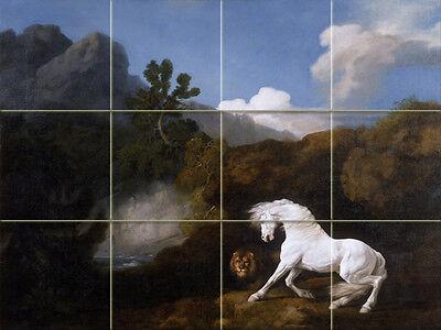 Art White Horse and Lion Mural Ceramic Backsplash Bath Tile #1613