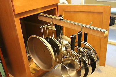 Pull Out Under Cabinet Hanging Pot and Pan Lid Rack Cookware Organizer