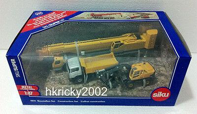 Siku Super 1814 1:87 Yellow Construction Site Transporter Excavator Crane Set