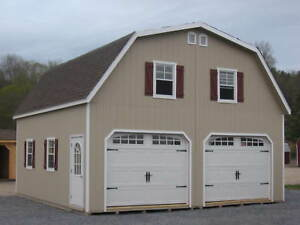 Amish 24x24 double wide garage gambrel roof structure ebay for Cost of a 24x24 garage