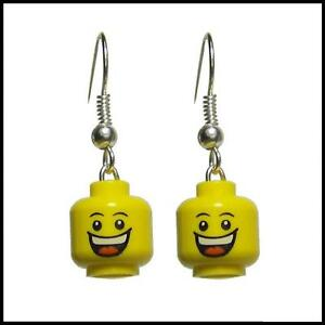 NEW-Lego-Huge-Grin-Minifig-Earrings-Silver-Plated