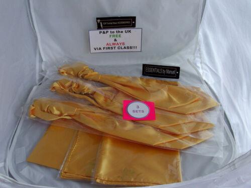 Brillant NEON Gold Homme Ruche tie-cravat et Hankie set-more u buy /& gtthe plus U save