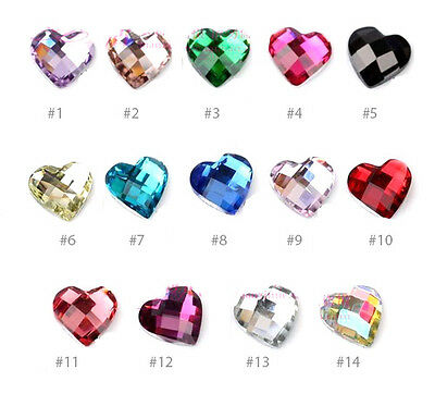 10 Heart Faceted 6mm Rhinestones Cabochons Sparkle Flatback phone deco nail art