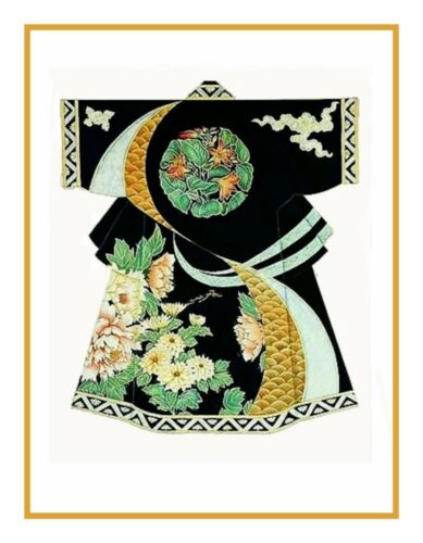 Japanese Black Green Gold Kimono Counedt Cross Stitch Chart