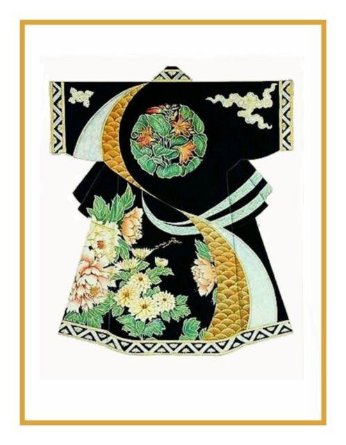 Japanese Black Green Gold Kimono Counted Cross Stitch Chart Pattern