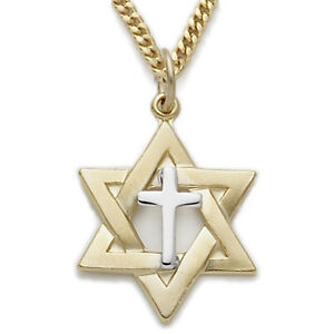 24K-GOLD-OVER-STERLING-SILVER-CROSS-STAR-OF-DAVID-PENDANT-CHARM-CHAIN-NECKLACE