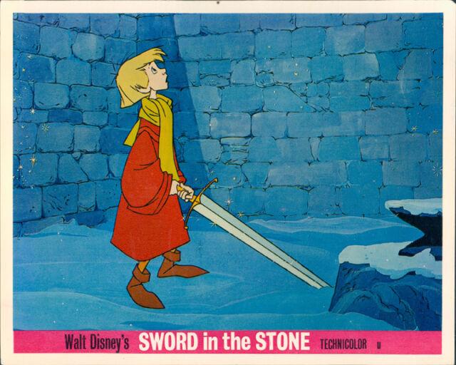 SWORD IN THE STONE ORIGINAL LOBBY CARD WALT DISNEY KING ARHUR WITH SWORD