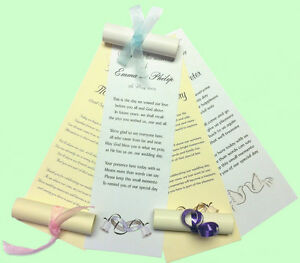 50-Personalised-Wedding-Favour-Scrolls-with-organza-on-cream-or-white-paper