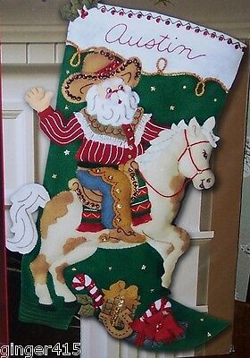 Bucilla COWBOY SANTA Horse Felt Christmas Stocking Kit OOP Factory Direct-85468