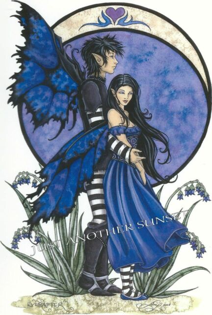 Amy Brown Print EVER AFTER Fairy Faery Couple Boy Girl Wedding Goth Romance Love