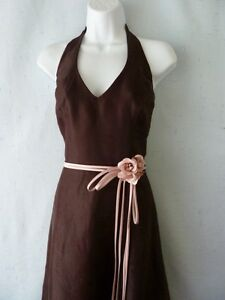 Davids-Bridal-Choc-Bridesmaid-Prom-Cocktail-Halter-Dress-Pink-Rosette-Belt-10